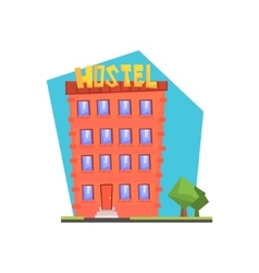 Hostel Building Flat vector