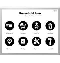 Household icons rounded solid pack vector