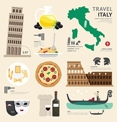 Italy flat icons design travel concept vector