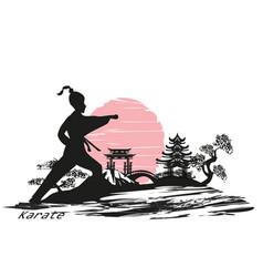 Karate girl design vector