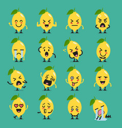 Lemon character emoji set vector