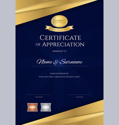 Luxury certificate template with elegant blue and vector