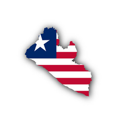 map and flag of liberia vector image