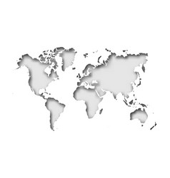 Map world cut into paper with inner shadow vector