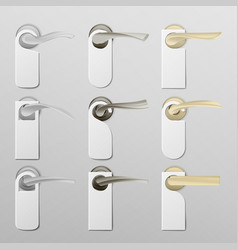 Metal door handle lock with hanger realistic mock vector