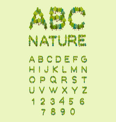 Nature alphabet tree font forest alphabet letter vector
