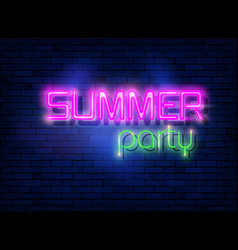 neon summer night party tropical party design vector image