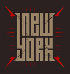 new york - poster with red lightnings t-shirt vector image