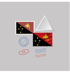 Papua new guinea flag postage stamp set isolated vector