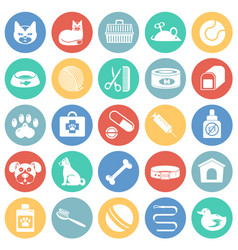 pet icons set on color circles background for vector image