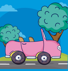 pink convertible car on street vector image