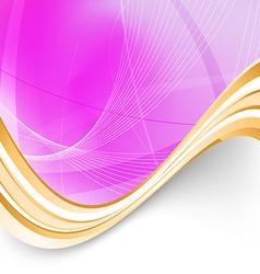 Pink folder background golden border swoosh vector image