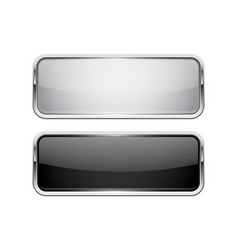 Push buttons glass square icons with chrome frame vector