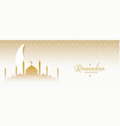 Ramadan kareem eid moon and mosque islamic banner vector