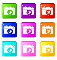 retro camera set 9 vector image