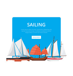 Sailing poster with side view sailboats vector