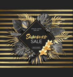 sale rhombus summer sale tropical leaves frame on vector image