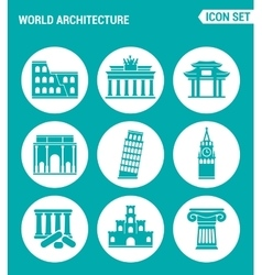 set of round icons white World architecture vector image