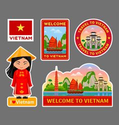 Set vietnamese travel stickers vector