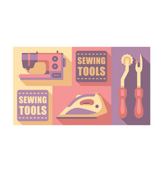 sewing tools set tailoring and dressmaking craft vector image