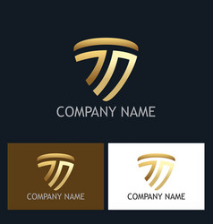 shield letter t gold company logo vector image