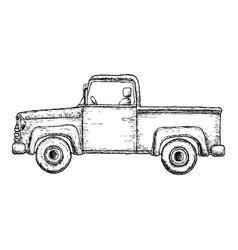 Sketch pick-up truck vector