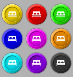 Sofa Icon sign symbol on nine round colourful vector