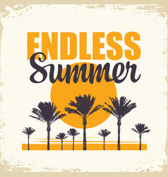travel banner with palm trees and sun endless vector image