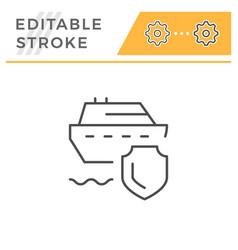 travel insurance editable stroke line icon vector image