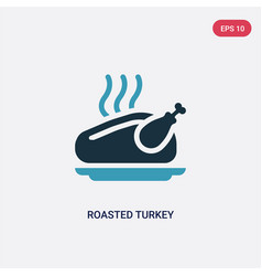 two color roasted turkey icon from united states vector image