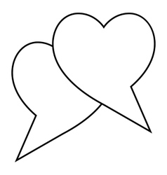 Two hearts icon outline style vector image