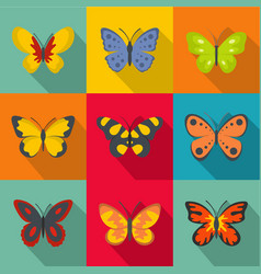 types of butterflies icons set flat style vector image