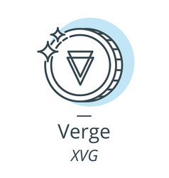 Verge cryptocurrency coin line icon of virtual vector