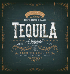 Vintage mexican tequila label for bottle vector