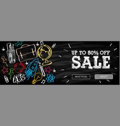Welcome back to school sale horizontal banner vector