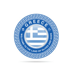 Welcome to greece in blue color vector