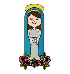 White background of colorful christian virgin and vector
