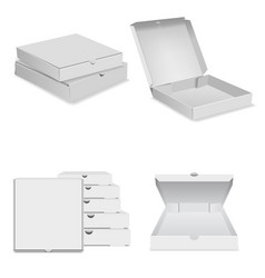 white pizza box icons set realistic style vector image