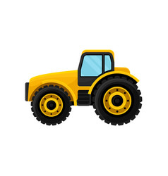 Yellow tractor with large wheels side view heavy vector
