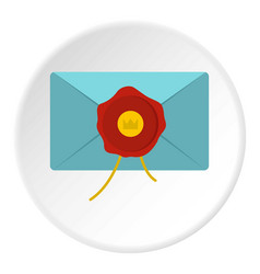 Blue envelope with red wax seal icon circle vector