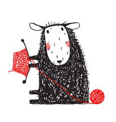 knitting cute sheep hand drawn vector image vector image