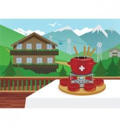 swiss fondue vector image