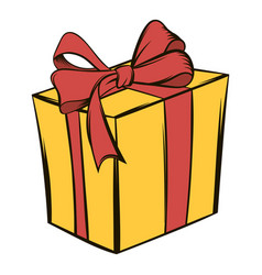 yellow gift box with a red ribbon icon cartoon vector image vector image