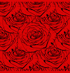 beautiful red rose seamless hand-drawn vector image