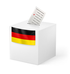 Election in germany ballot box with voicing paper vector
