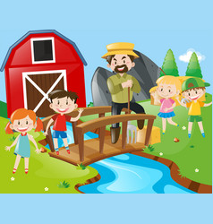 farmer and children at the field vector image