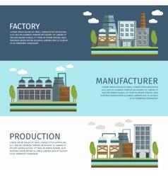 Industrial Buildings Horizontal Banners Set vector image vector image