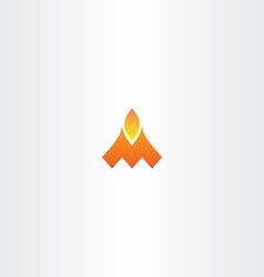 letter m fire flame logo icon vector image vector image