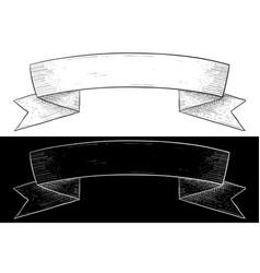 ribbon banner hand drawn sketch vector image vector image