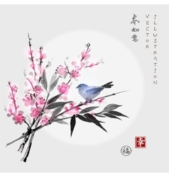 Sakura in blossom bamboo branch and little bird vector image vector image